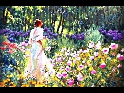 "Simple Flower Garden Paintings pink landscape"" oil painting tutorial. paintings of nature. paint"