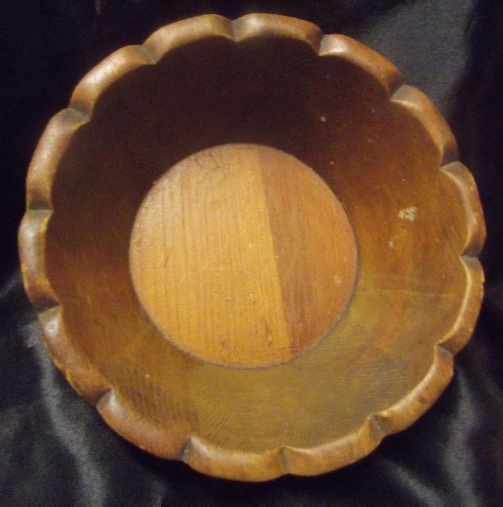 Vintage #Wood Souvenir #Bowl Engraved Gallicks #Wetherby #Supper Club Moors Pierces