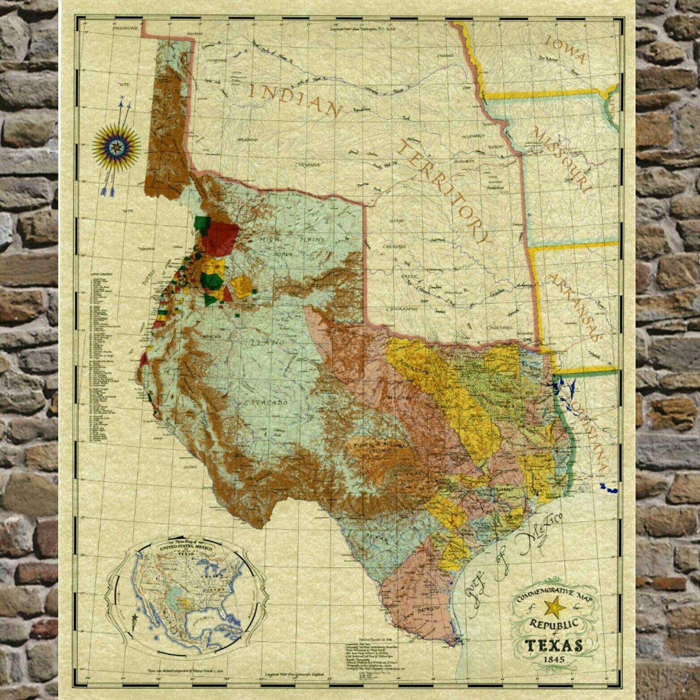 Texas Vintage Map - Republic of Texas Commemorative Map Poster (1845 ...