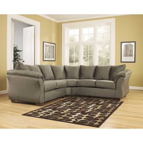 Signature Design By Ashley Darcy 2 Piece Sage Loveseat Sectional Darcy Sage Sectional Brown