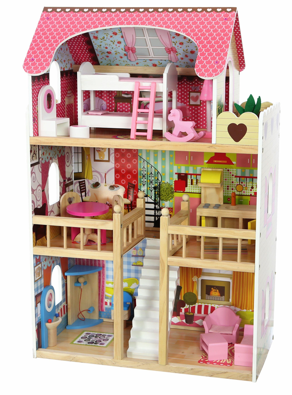 Duzy Drewniany Domek Dla Lalek Z Meblami Ecotoys 6539621599 Oficjalne Archiwum Allegro Wooden Dollhouse House Colors Doll House