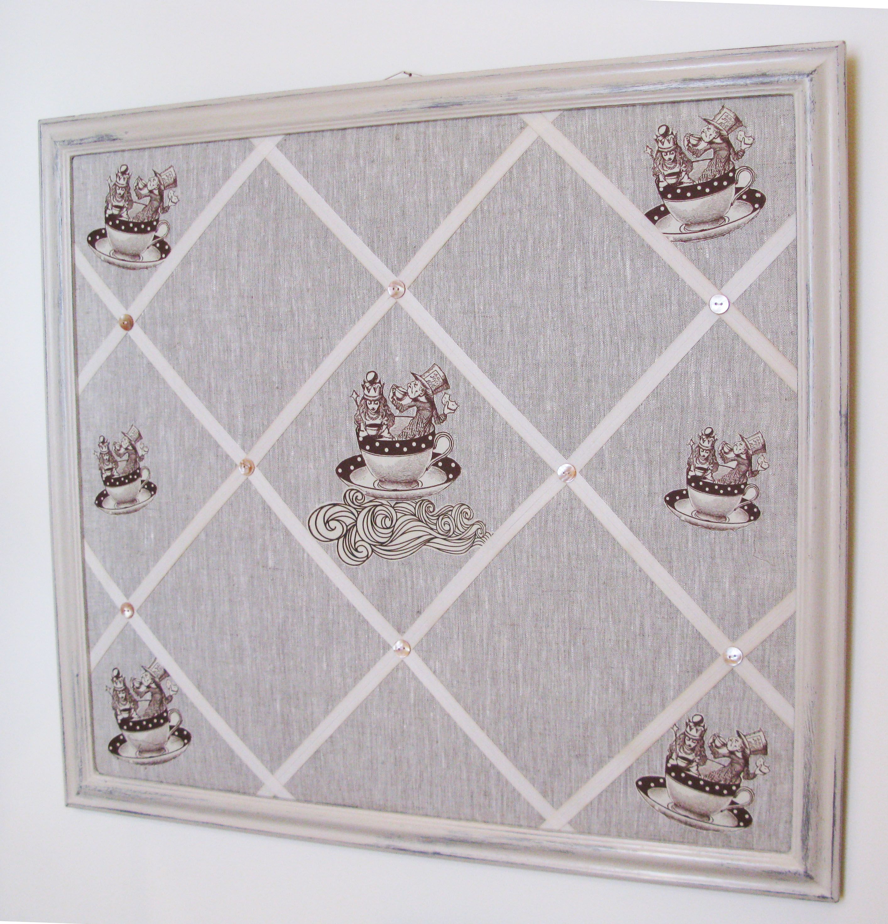 The Alice motif was appliqued on plain linen for this large bespoke ...