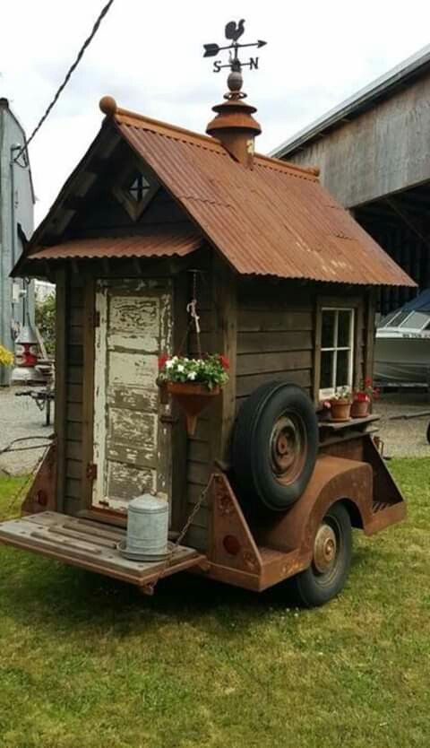 Shed on wheels   Garden shed, Shed, Rustic greenhouses