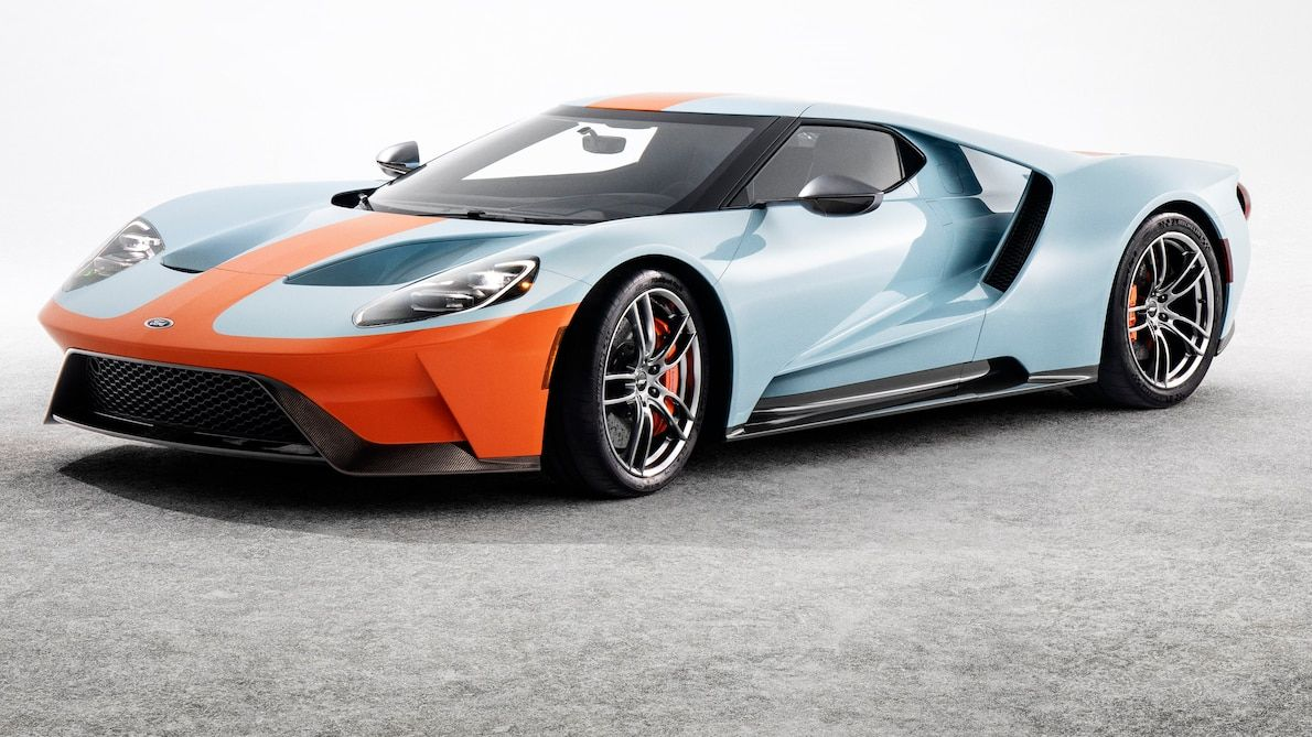 2019 Ford Gt Heritage Edition Wears Famed Gulf Livery Ford Gt Gulf Ford Gt Ford Gt40