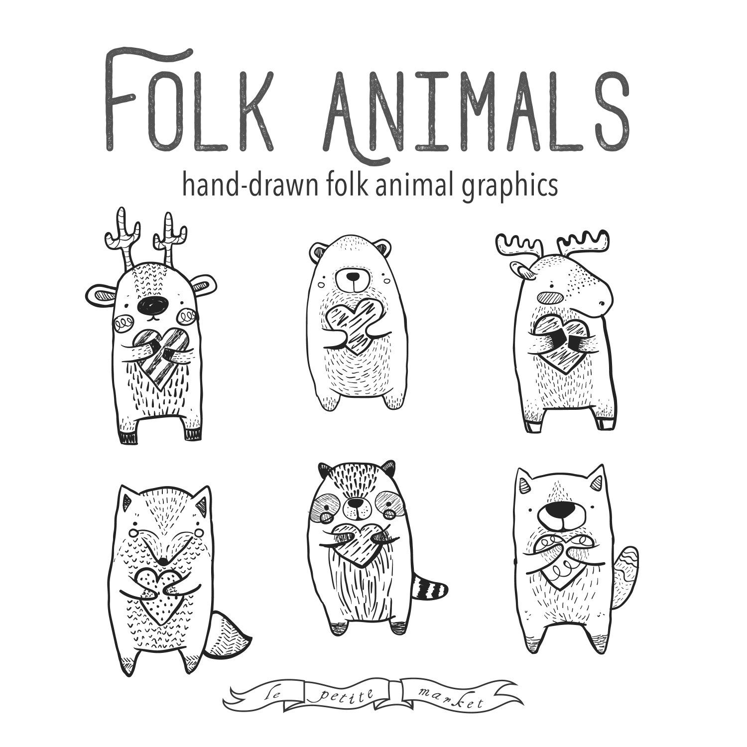 Folk Clipart Animals Heart Clipart Vector Graphics Deer