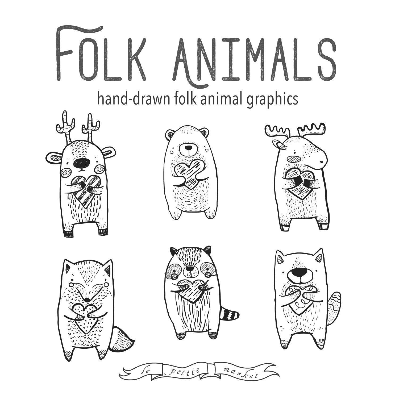 Folk Clipart Animals Heart Clipart Vector Graphics Deer