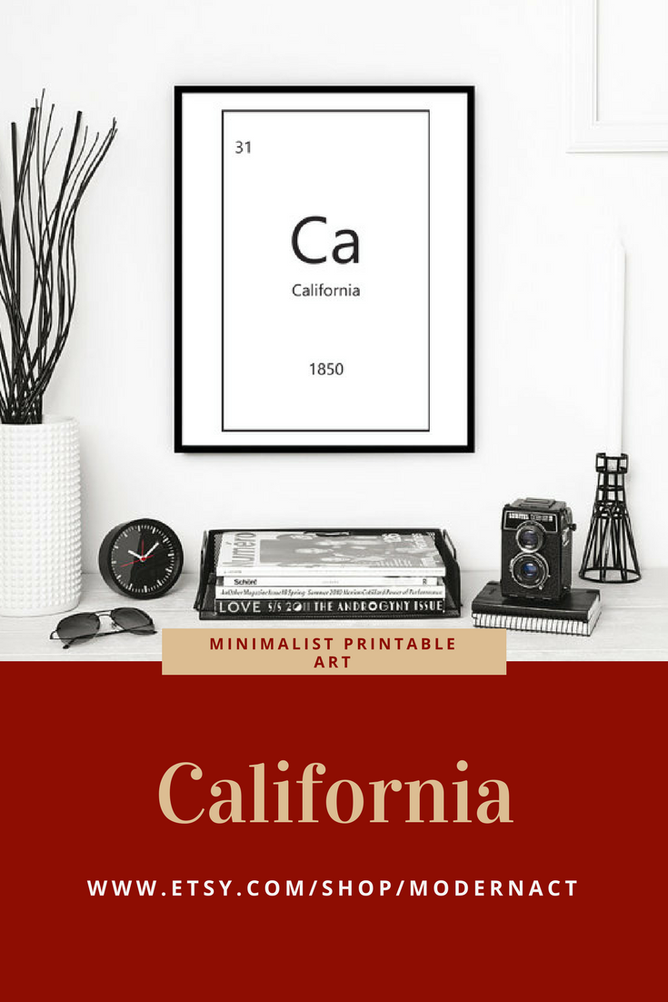 California Periodic Table Printable Art Modern Act Etsy Store