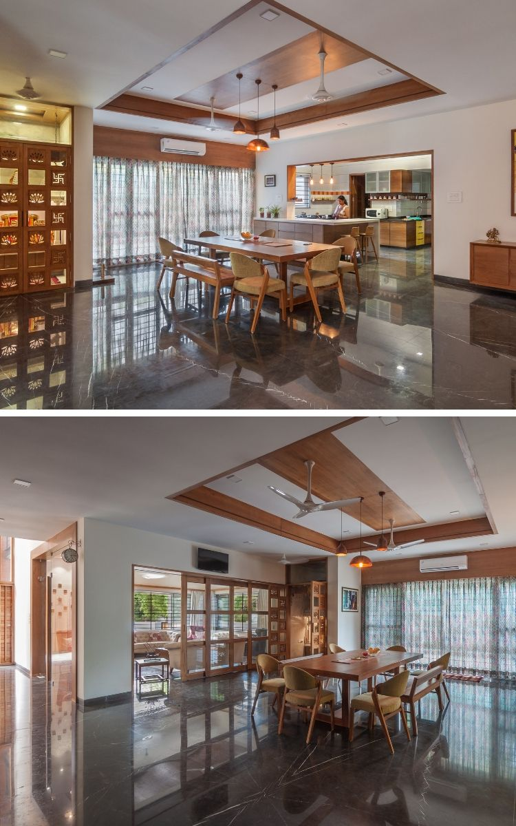 Contemporary house with  simple layout dining decor mandir also cupboard inner designs rh pinterest