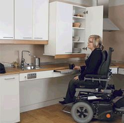 A wheelchair accessible sink should be shallow only 5 to for Wheelchair accessible kitchen cabinets