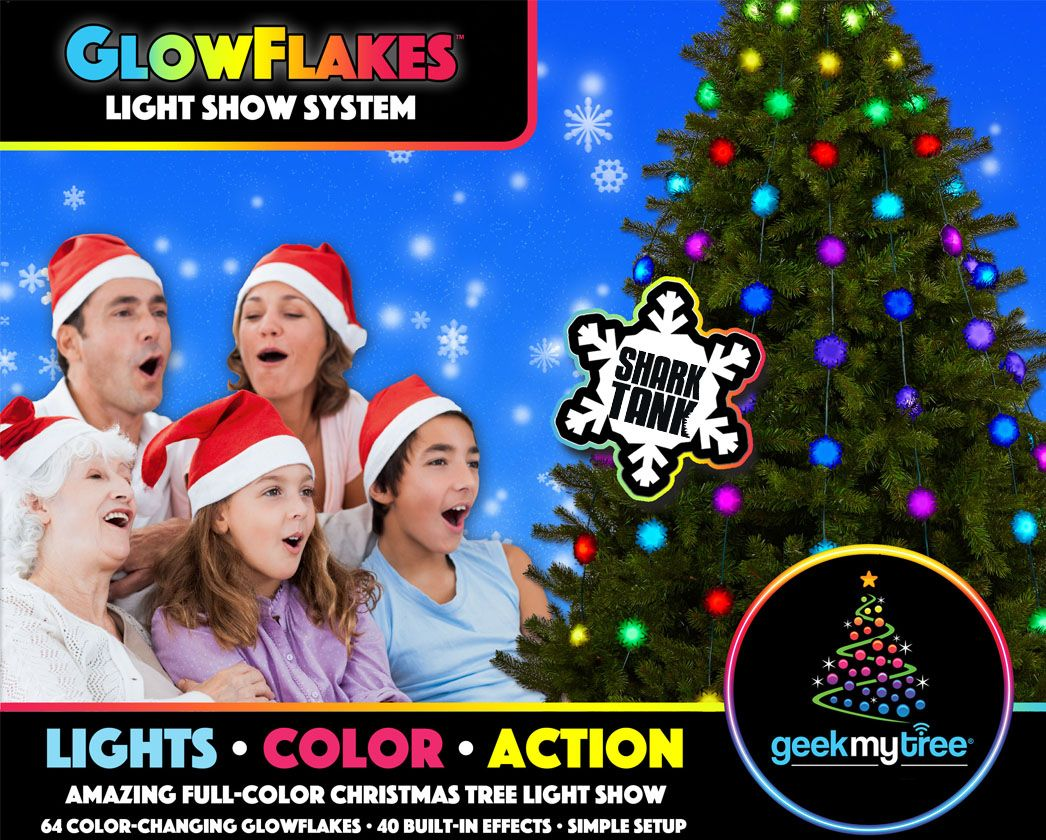 geek my tree glowflakes as seen on shark tank animated christmas tree light show - Shark Tank Christmas Lights