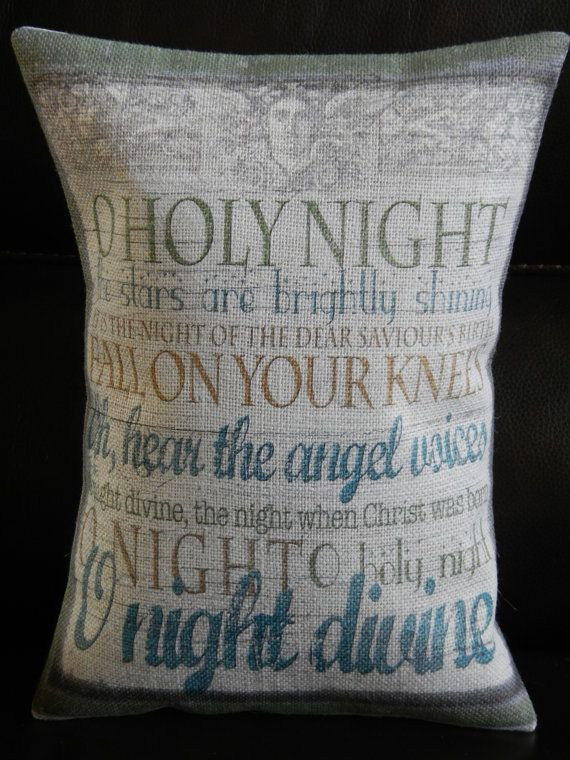 Holy Night Burlap Pillow, Farmhouse Christmas, Oh Holy Night Song, Christmas 45, INSERT INCLUDED ...