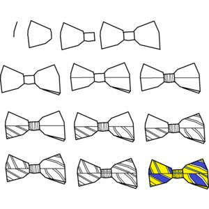 How To Draw A Simple Striped Bow tie. Easy Free Step by