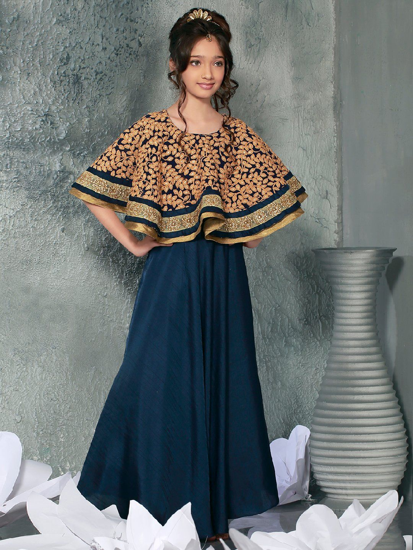 f5383dbc6778 Designer Plain Navy Cape Style Gown, party wear gown, cape style gown, designer  gown, plain gown