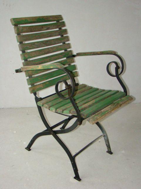 Nr-A4447-Alter-Gartenstuhl-mit-Armlehnen-Biergartenstuhl - ausergewohnliche relax liege hochster qualitat
