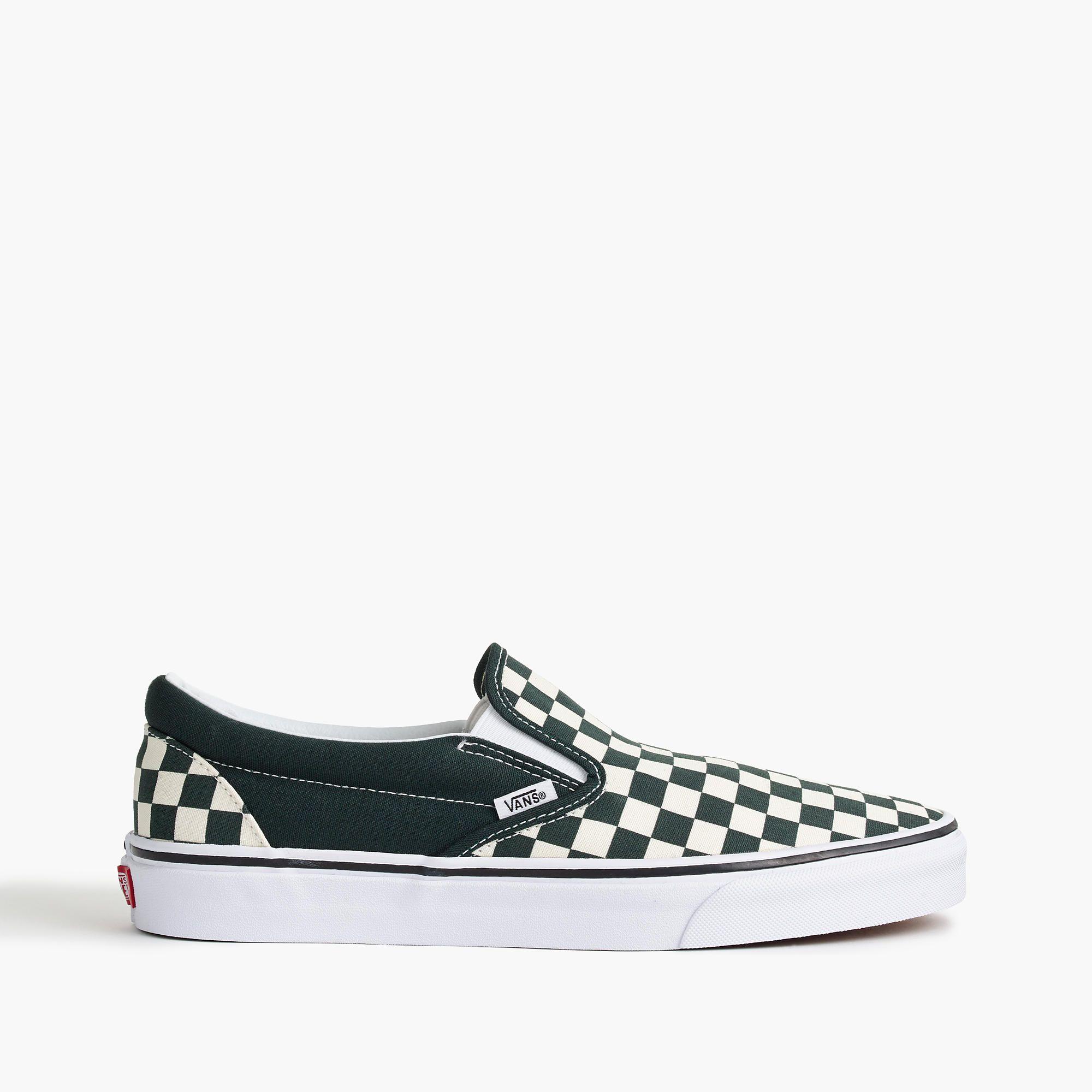 d41e1b7079cd9d J.Crew x Vans Forest Green Checkerboard Slip-Ons