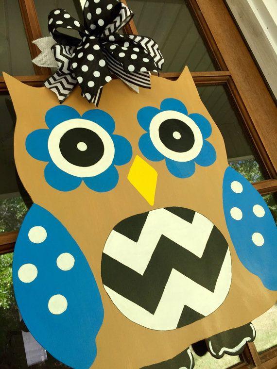 Owl Wooden Door Hanger Hand Painted By