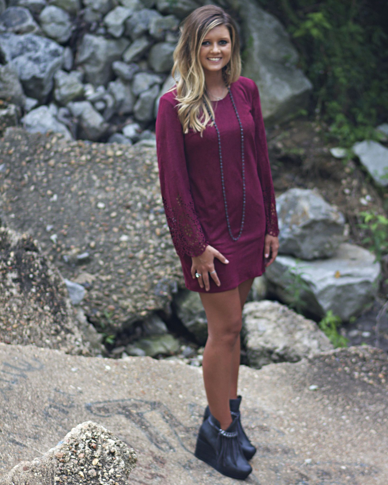 Long Sleeve Suedelike Shift Dress with Laser Cutout Detailed Sleeves