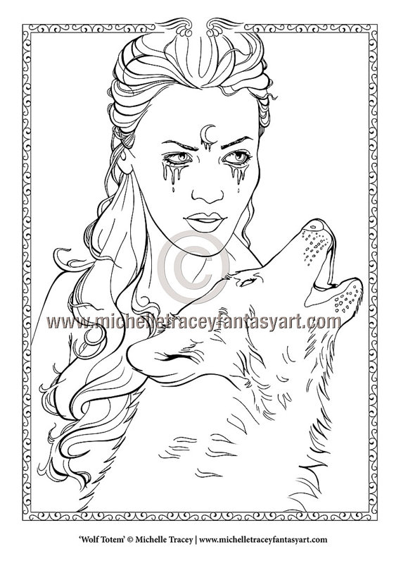 Fantasy Coloring Pages u0027Wolf Totemu0027 - Totem Animals, Wolves, Animals - copy animal coloring pages that you can print