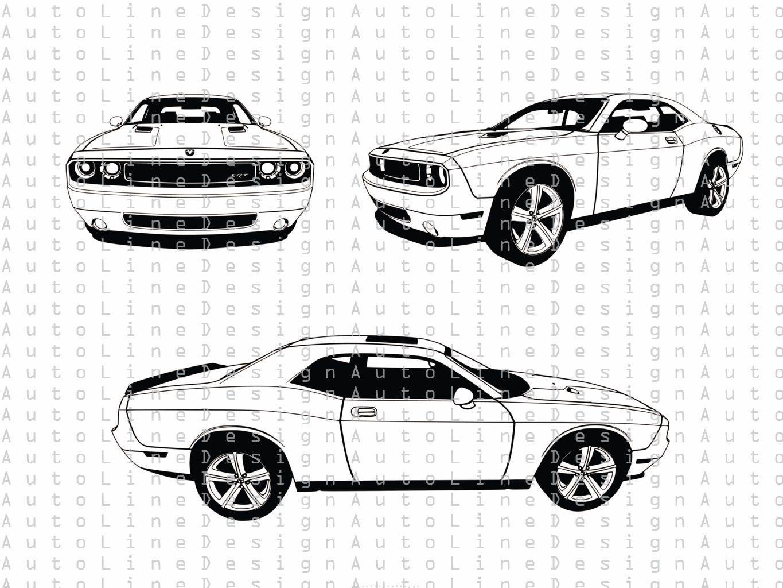 Dodge Challenger Srt Svg Pdf Dxf Eps Illustration Vector Etsy In 2021 Dodge Challenger Srt Challenger Srt Dodge Challenger