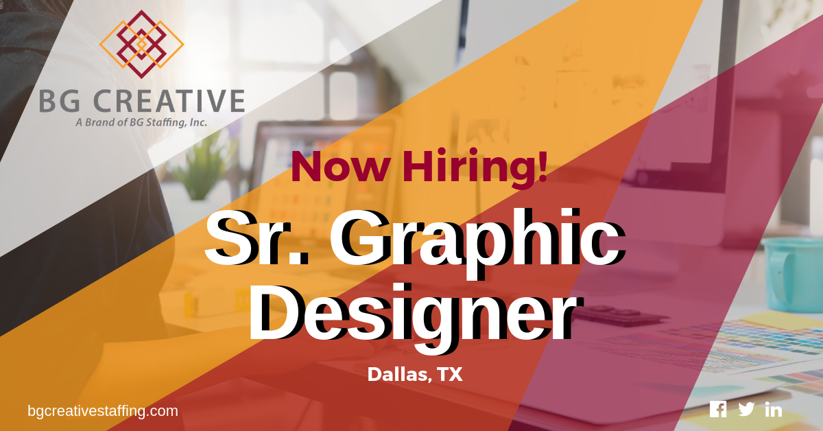 Bg Creative Has Partnered With A Client In The Dallas Area In Need Of A Senior Graphicdesigner If Creative Jobs Communication Skills Problem Solving Skills
