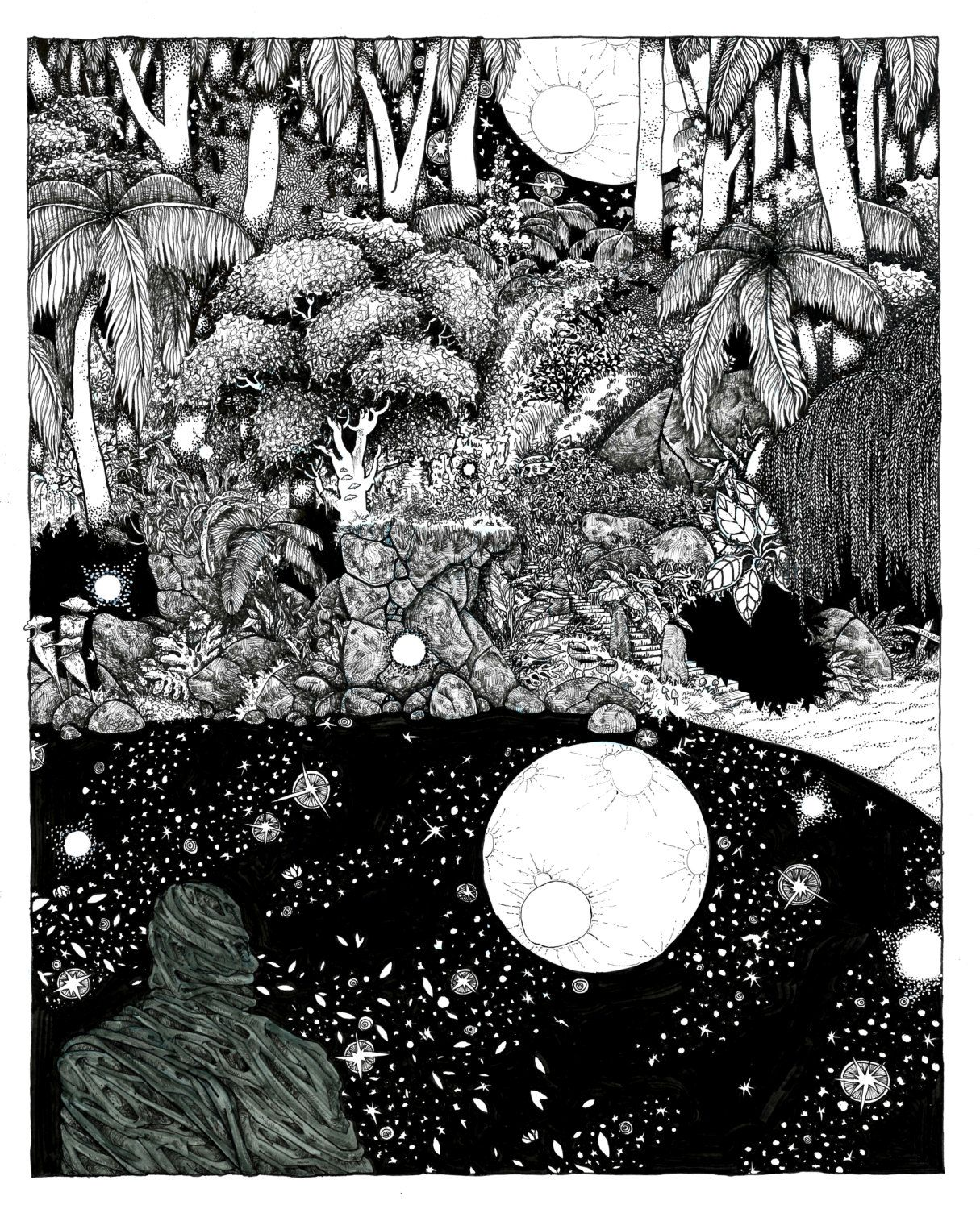 Dreaming pool of booya moon pen and ink black and white