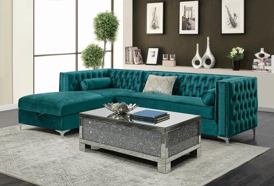 508380 2 pc Bellaire teal velvet fabric sectional sofa set with tufted backs storage chaise is part of Tufted Sectional Living Room - 2 pc Bellaire teal velvet fabric sectional sofa set with tufted backs storage chaise  This set features tufted back designs and decorative throw pillows, and storage underneath the chaise  Sectional measures 107  x 72  Long chaise x 29  H back  Some assembly required