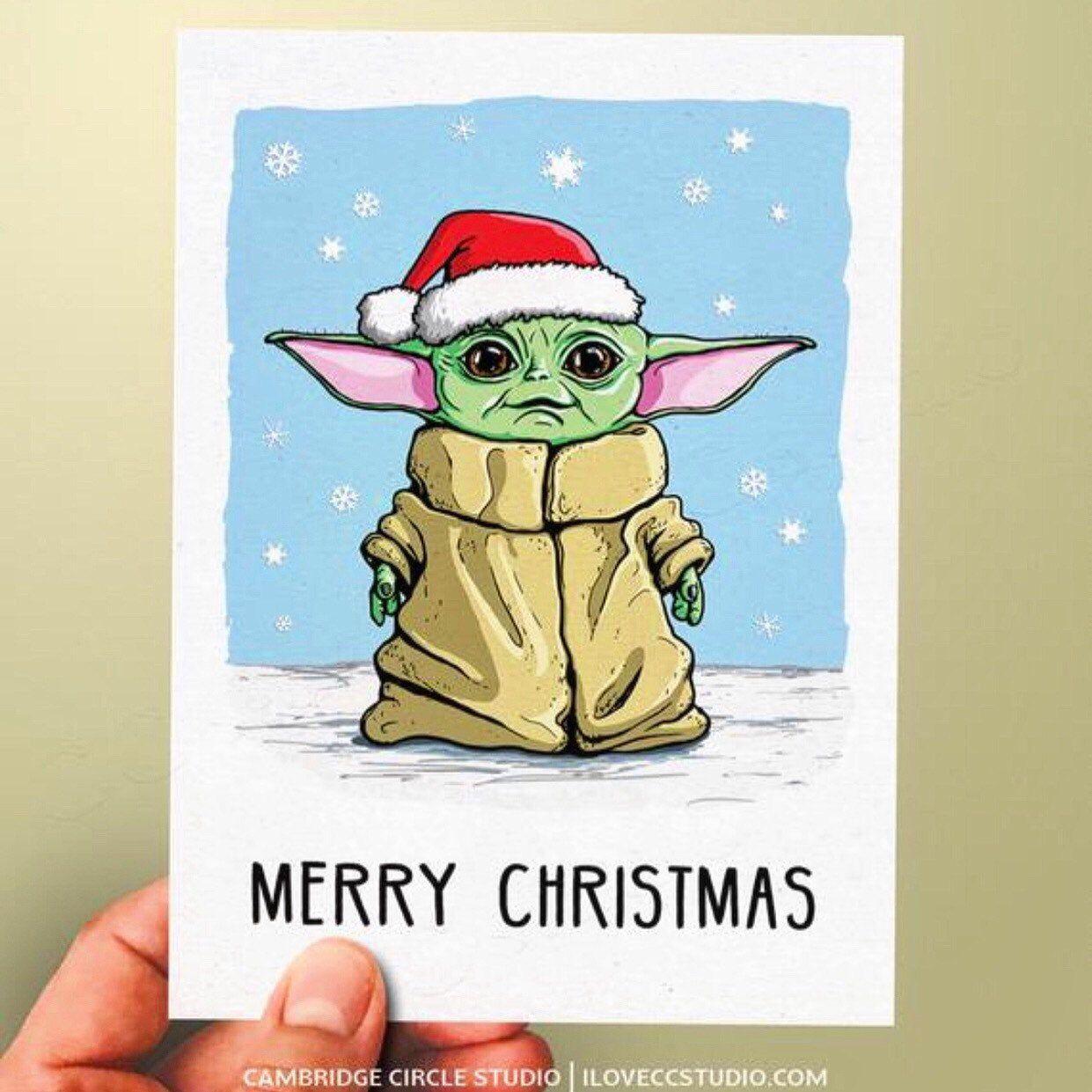 Christmas Baby Yoda Card Oh Nah They Didn T Oh Yes We Did Yoda Card Yoda Drawing Star Wars Drawings