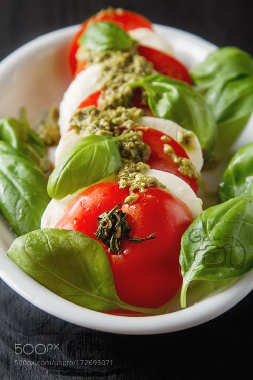 Fresh italian Caprese salad tomato and mozzarella slices with ba by ngaus  IFTTT 500px