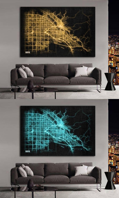 U20ac6.23 Idaho Night Lights Map Large Horizontal Wall Art Map Wallart  #cheapdecor #wallart