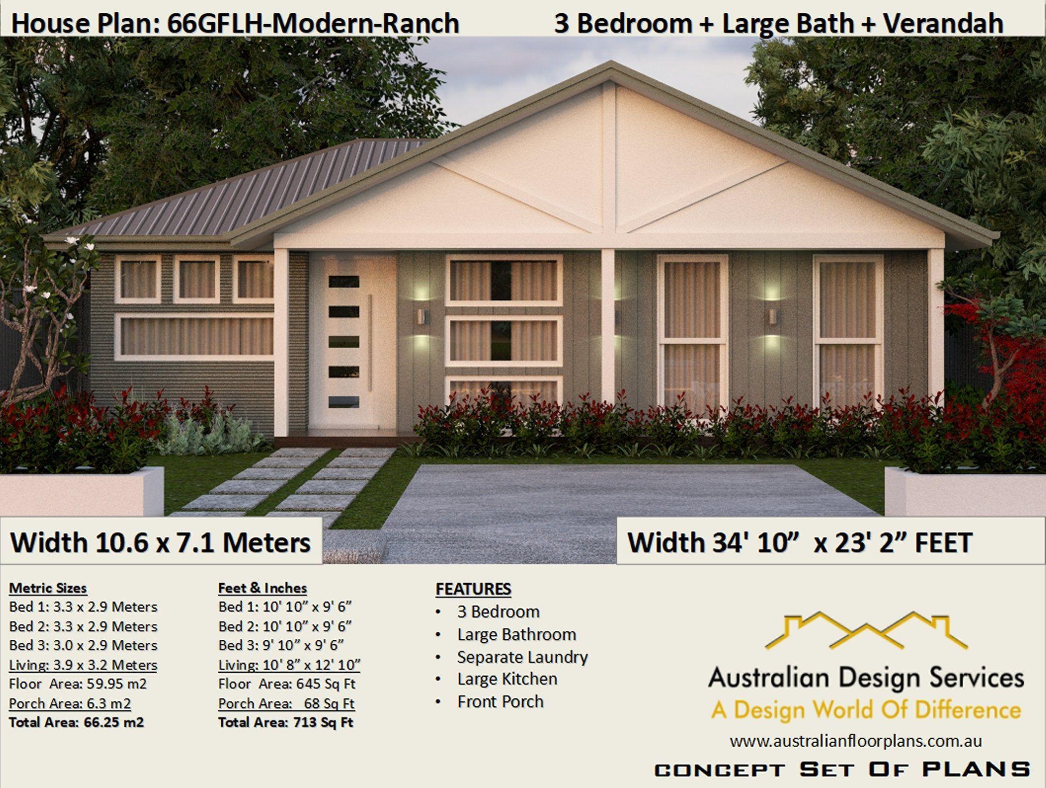 Gable Modern Ranch 3 Bedroom Home Design 66gf Modern Ranch 3 Etsy Modern Ranch House Plans Bedroom House Plans