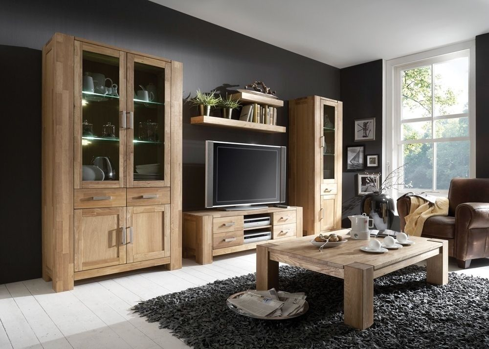 Wohnwand Zeus Holz Wildeiche Teilmassiv 5526 Buy now at   - wohnzimmerschrank eiche massiv