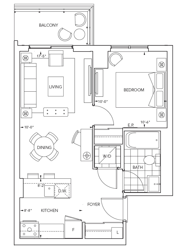 Suite 1D1: 1 Bedroom, 1 Bathroom, 531 sq. ft. Comes in