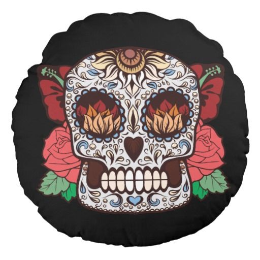 Brown White Tattoo Sugar Skull Pink Roses Round Pillow Pinterest Magnificent Round Decorative Pillows Sale
