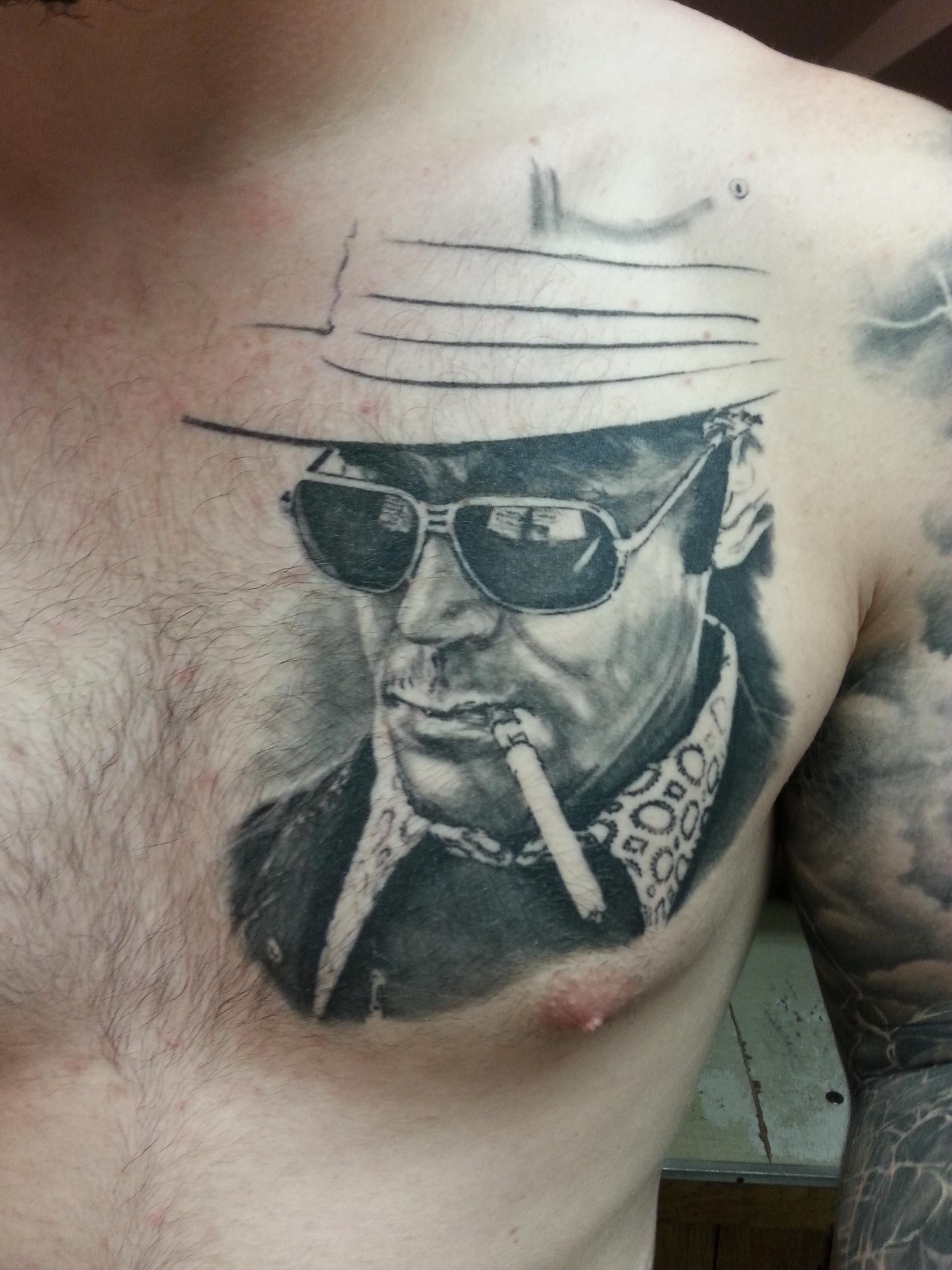 My portraits of hunter s thompson and ernest hemingway by for Hunter s thompson tattoos