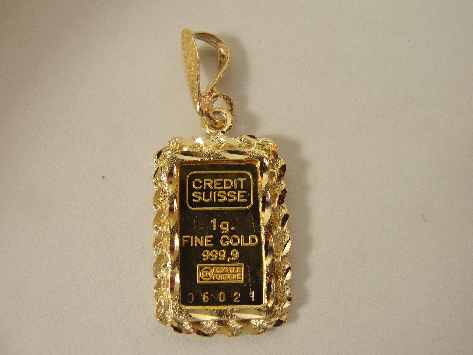Genuine 999 9 Fine Gold Credit Suisse 1 Gram Bullion Bar In 14kt Gold Holder Goldinvesting