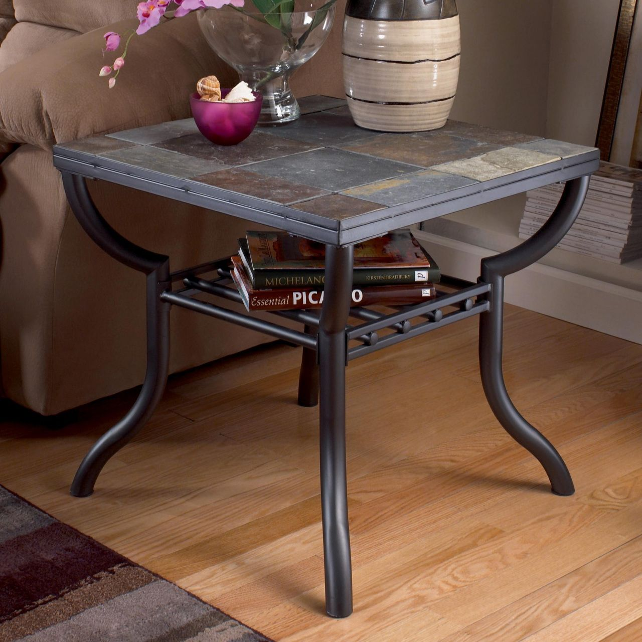 50 Slate Inlay top End Table Modern Italian Furniture Check more