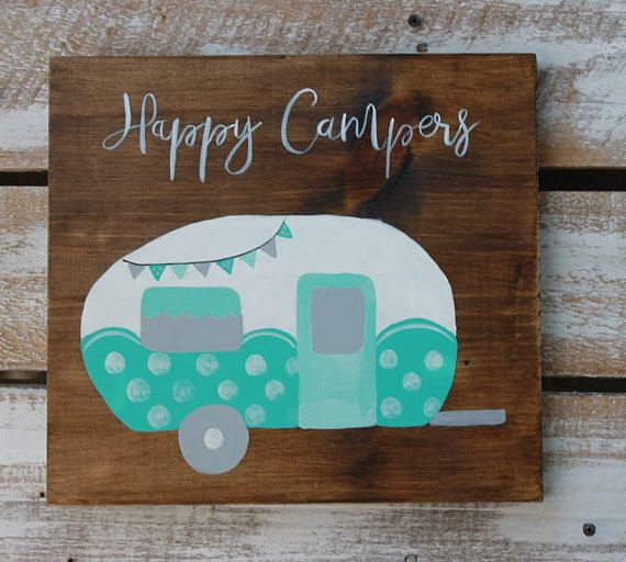 Happy Camper Sign Turquoise