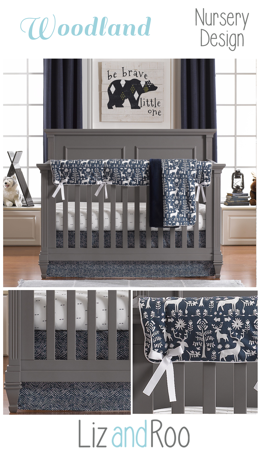 Navy Woodland Forest Bumperless Crib Bedding Collection Woodland