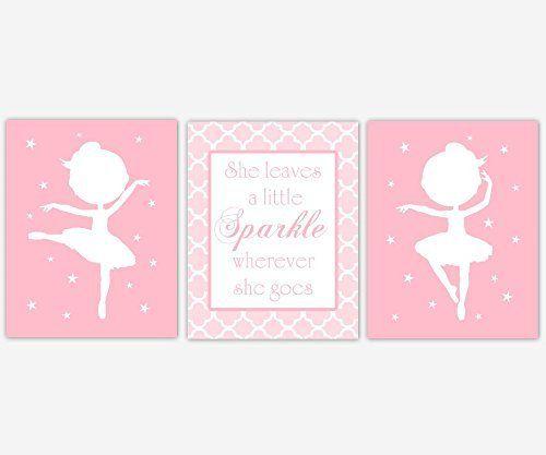 Ballerina Girl Nursery Wall Art Pink Prints She Leaves a Little Sparkle Stars Silhouette Dance Ballet Dancer Baby Nursery Decor SET OF 3 UNFRAMED PRINTS
