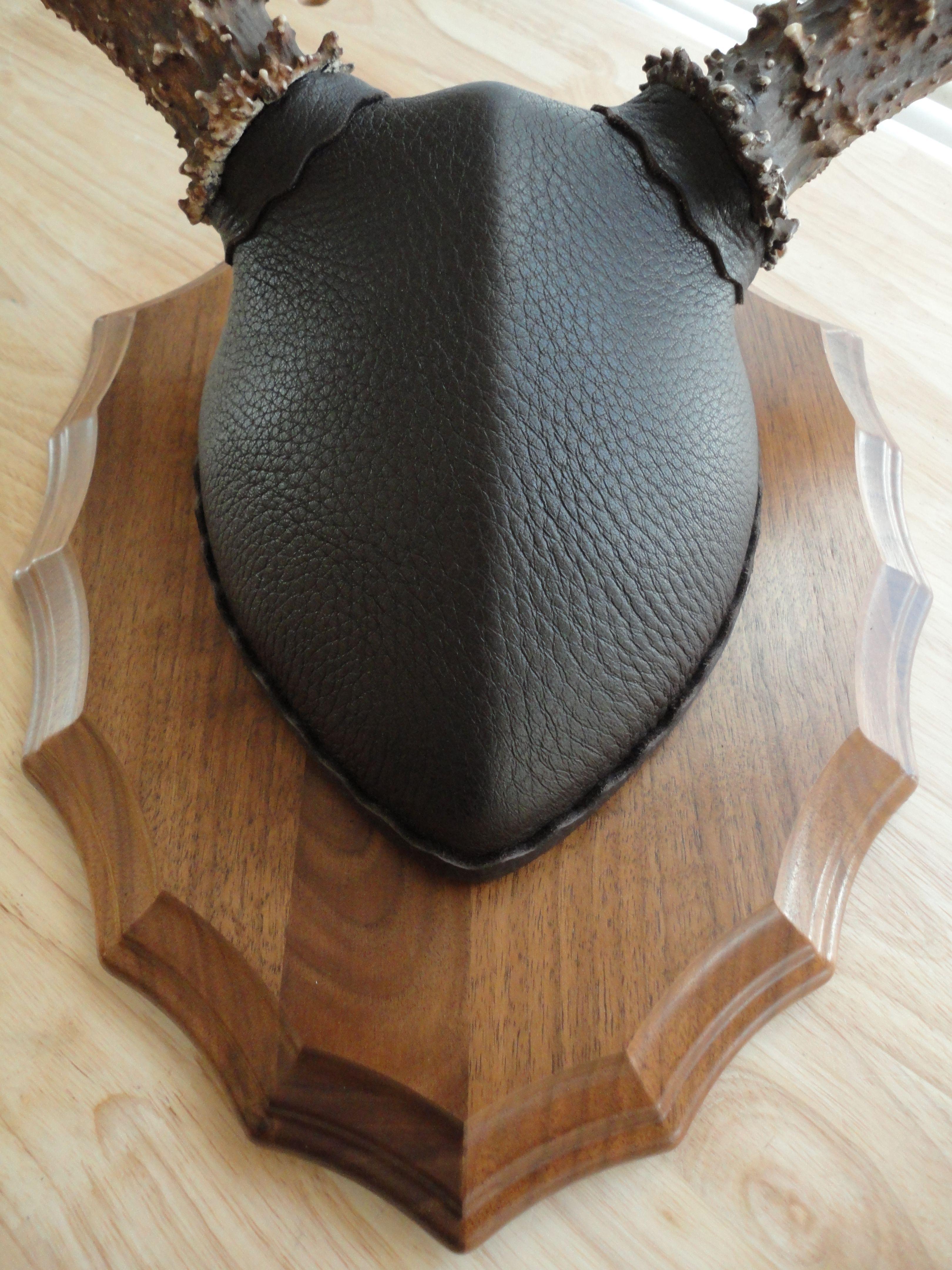 Genuine Top Grain Deer Skin Leather wrap on Classic Antler