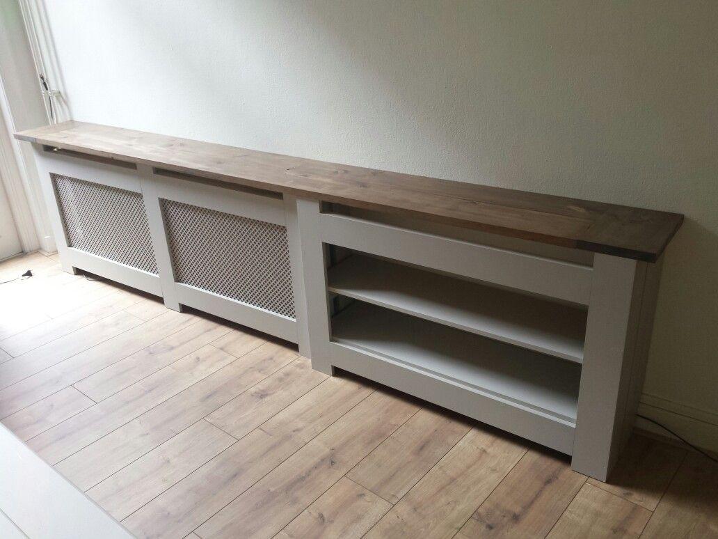 Diy radiator ombouw van mdf en steigerhout bijzettafel for Steigerhout vensterbank