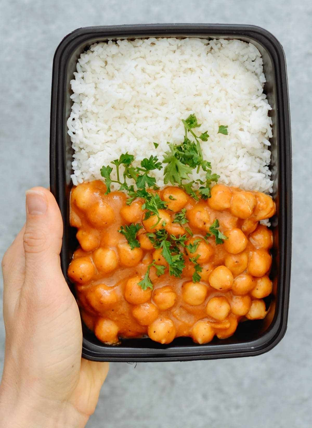 Vegan Chickpea Curry Amp Basmati Rice Is Our Fast Easy And Healthy Take On A Very Popular Recipe Curry Vegan Chickpea Curry Soft Foods Diet Chickpea Curry