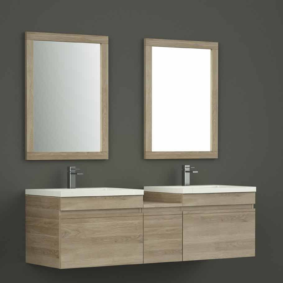 meuble double vasque aloha longueur 150cm 2 miroirs prix promo meuble salle de bain delamaison. Black Bedroom Furniture Sets. Home Design Ideas