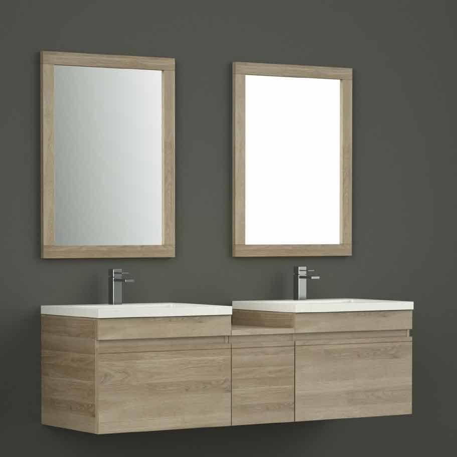 meuble double vasque aloha longueur 150cm 2 miroirs prix promo meuble salle de bain delamaison 87500 ttc au lieu de 1 072 - Meuble Double Vasque A Poser 2