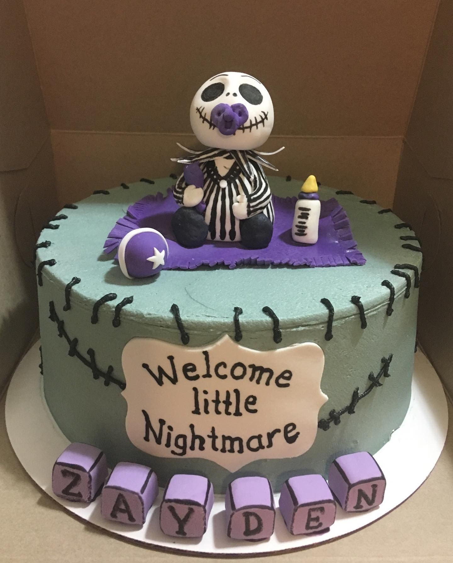 Unique and funny baby shower cake. Theme nightmare on elm