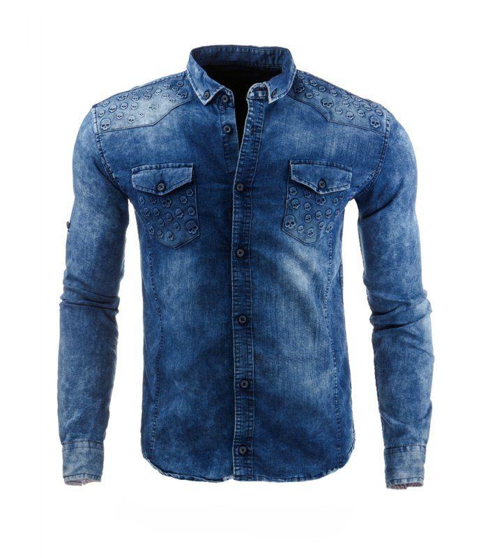 d4f3e7e10930 Riflová modrá košeľa. Zapínanie na gombíky. Dlhý rukáv. Najnovší trend v  pánskej móde. Model slim fit. Idealna na každý deň.