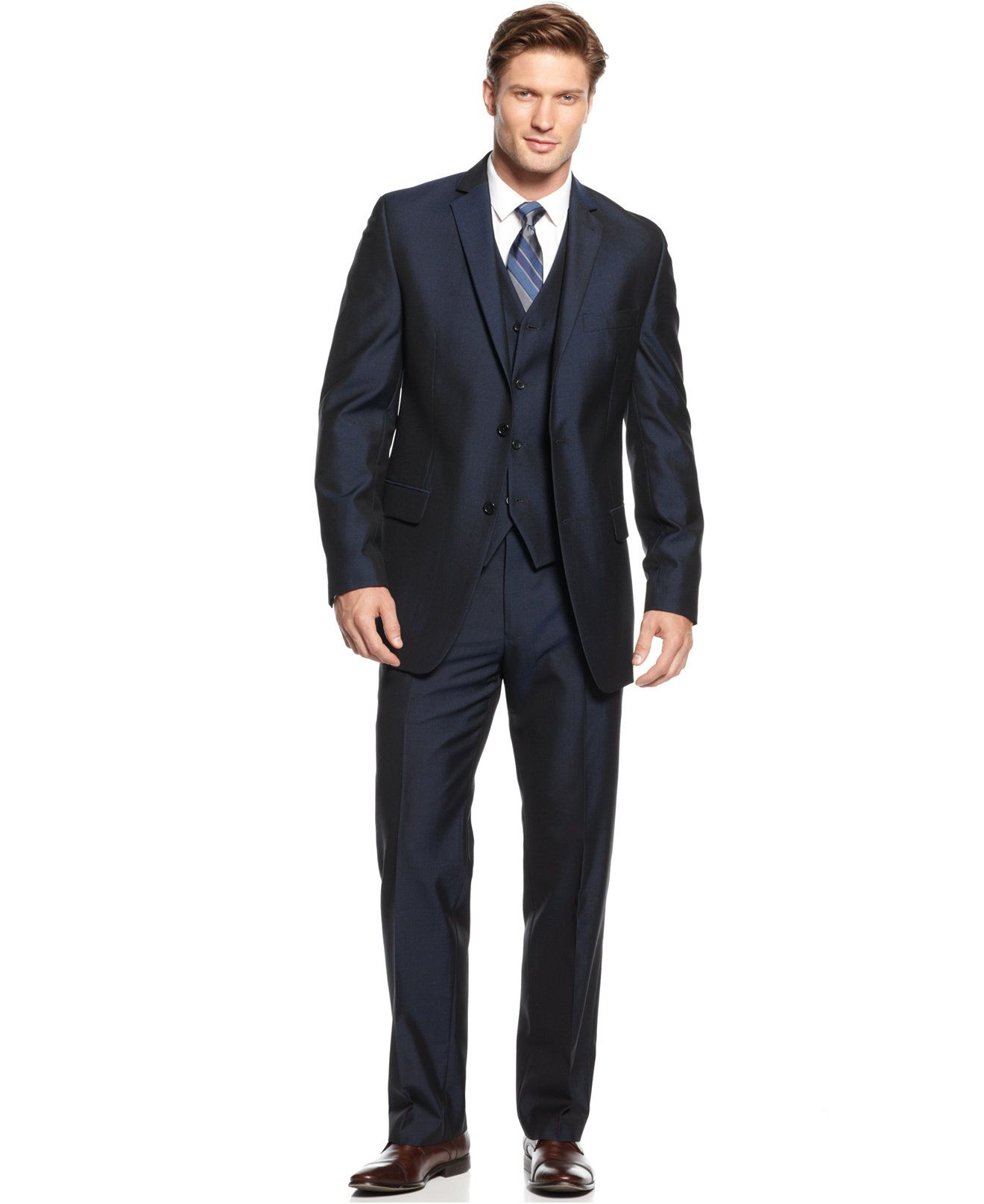 Alfani RED Navy Textured Slim-Fit Suit Separates - Suits & Suit ...
