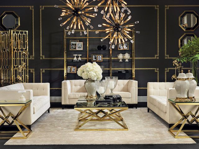 How To Master The Hollywood Regency Aesthetic The Interiors Addict Gold Living Room Black And Gold Living Room Interior