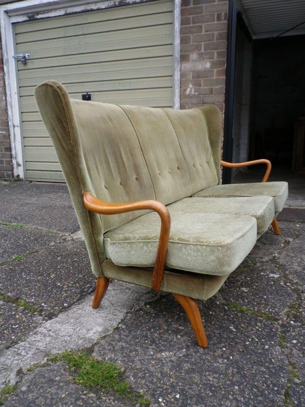 1950's Howard Keith HK Midcentury Modernist Sofa Curved Heals Danish Style Retro | eBay