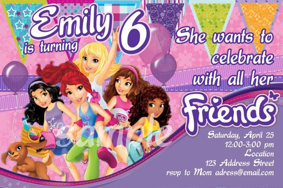 Fun And Bright Lego Friends Birthday Invitation By Benannainvites